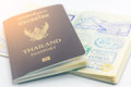 Vintage tone Thailand passport and visas. Royalty Free Stock Photo