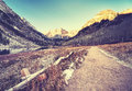 Vintage toned path to Maroon Bells at sunrise, Colorado, USA Royalty Free Stock Photo