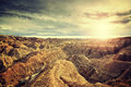 Vintage toned scenic sunset over Badlands National Park. Royalty Free Stock Photo
