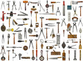 Vintage tools and utensils collage background Stock Photography