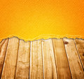 Vintage torn paper over wood planks background warm tone Royalty Free Stock Photo