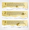 Vintage torn paper progress option labels Royalty Free Stock Photo