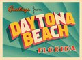 Vintage Touristic Greeting Card From Daytona Beach, Florida. Royalty Free Stock Photo