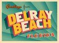 Vintage Touristic Greeting Card From Delray Beach, Florida. Royalty Free Stock Photo