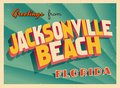 Vintage Touristic Greeting Card From Jacksonville Beach, Florida. Royalty Free Stock Photo