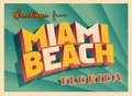 Vintage Touristic Greeting Card From Miami Beach, Florida. Royalty Free Stock Photo