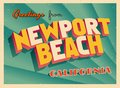 Vintage Touristic Greeting Card From Newport Beach, California. Royalty Free Stock Photo
