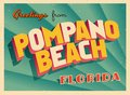 Vintage Touristic Greeting Card From Pompano Beach, Florida. Royalty Free Stock Photo