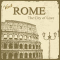 Vintage touristic poster rome background visit the city of love vector illustration Stock Images