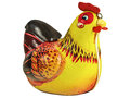 Vintage toy chicken isolated on white Royalty Free Stock Photo