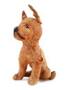 Vintage toy dog stuffed with straw isolated on white background Royalty Free Stock Photo