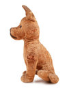 Vintage toy dog stuffed with straw side view isolated on white background Stock Images