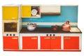 Vintage toy kitchen isolated on white Royalty Free Stock Photo