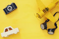 vintage toy plane, old photo camera and pilot glasses Royalty Free Stock Photo