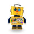 Vintage toy robot with surprised facial expression cute yellow a over white background Stock Photo