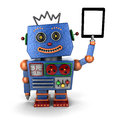 Vintage toy robot with tablet pc happy blue ablet over white background Stock Photo
