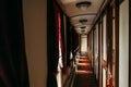 Vintage train, rich retro wagon interior, nobody Royalty Free Stock Photo