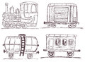 Vintage train with wagons sketch vector illustration of a three different Stock Photography