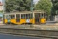 Vintage tram on the Milano street Royalty Free Stock Photo