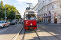 Vintage tram in vienna in motion july historic operates on late afternoon on july on january an electric operated for the first Royalty Free Stock Photography