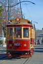 Vintage tram on worcester boulevard christchurch operating sightseeing tours new zealand Stock Photo