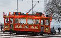 Vintage tram in zurich during the winter season Stock Photography