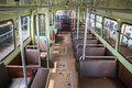Vintage tramway interior with leather seats Royalty Free Stock Photography