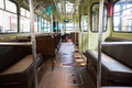 Vintage tramway interior with leather seats Stock Images
