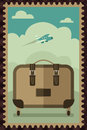 Vintage travel luggage poster a vector illustration of design Royalty Free Stock Photo