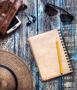 Vintage travel paper journal on the table Royalty Free Stock Photo