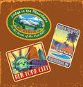 Vintage travel stickers set of retro souvenir suitcase Stock Image