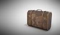 Vintage travel suitcase 3d render on grey background