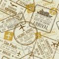 Vintage travel visa passport stamps vector seamless background