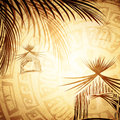 Vintage tropic background with abstract bungalow and palms Stock Image