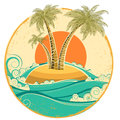 Vintage tropical island vector symbol seascape wit with sun on old paper texture Royalty Free Stock Image