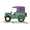Vintage truck cartoon style drawing of a retro Royalty Free Stock Photography