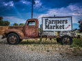 Vintage Truck Farmers Market Sign Royalty Free Stock Photo