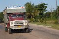Vintage truck on the street of cuba soviet with inscription taxi moves road Stock Photography