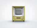 Vintage tv jaune dans la vue de face Photo stock