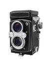 Vintage twin lens reflex camera medium format isolated on a white background Stock Images