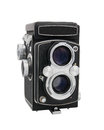 Vintage twin lens reflex camera medium format isolated on a white background Stock Photos