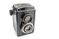 Vintage two lens photo camera isolated on white Royalty Free Stock Photography