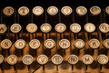 Vintage typewriter closeup of retro old fashioned keyboard Royalty Free Stock Images