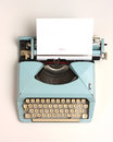 Vintage typewriter image of an old cyan beat around the edges Royalty Free Stock Images