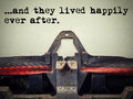 Vintage typewriter they lived happily ever after text Royalty Free Stock Photo