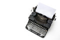 Vintage typewriter with paper sheet isolated on white Stock Photography