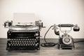 Vintage Typewriter And Telephone