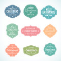 Vintage typography soft color cute christmas vector badges set with candle star gift borders and tree isolated Stock Photos