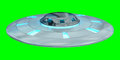 Vintage UFO isolated on green background 3D rendering