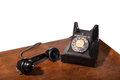 Vintage uk general post office director telephone handset micro telephone circa handset off hook space text Stock Images